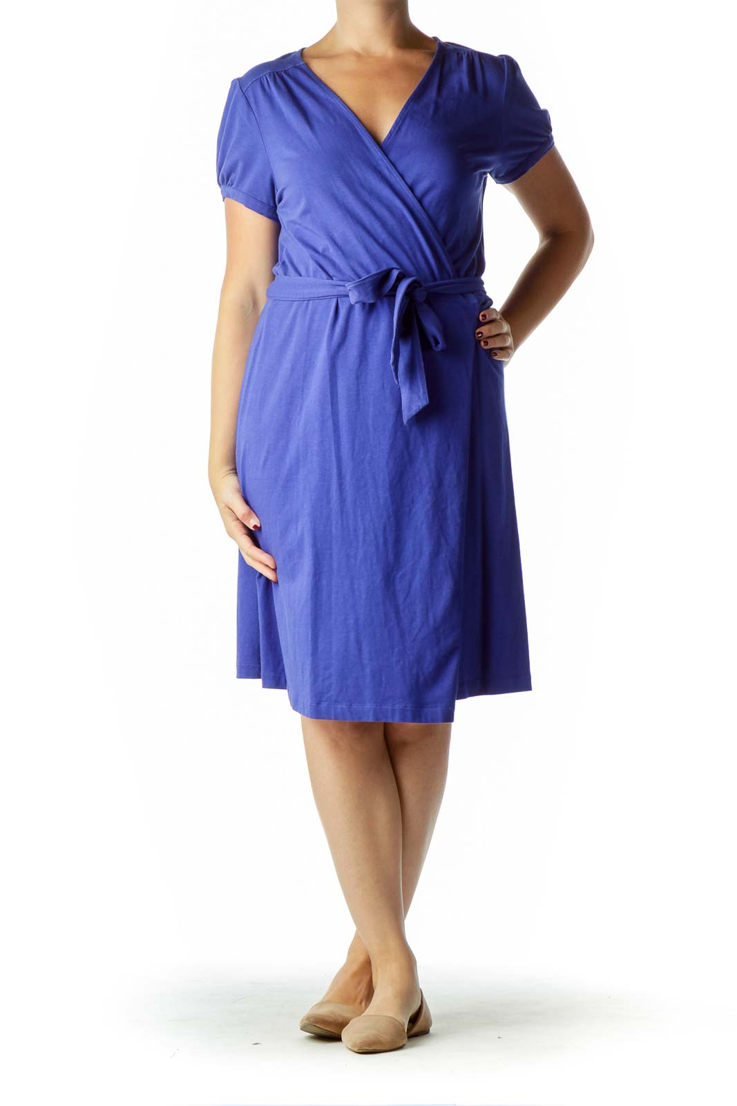 Blue Short Sleeve Wrap Dress