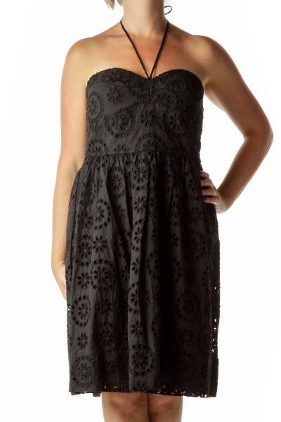 Black Eyelet Strapless Dress