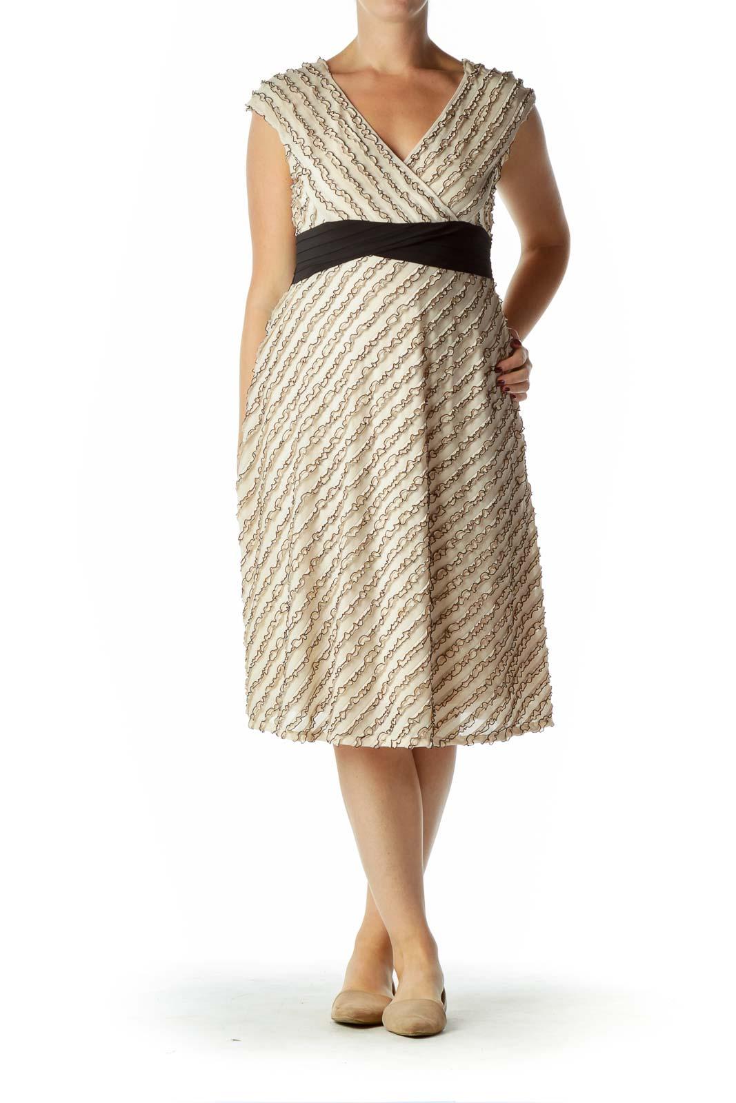 Beige Black Ruffle Detailed Dress
