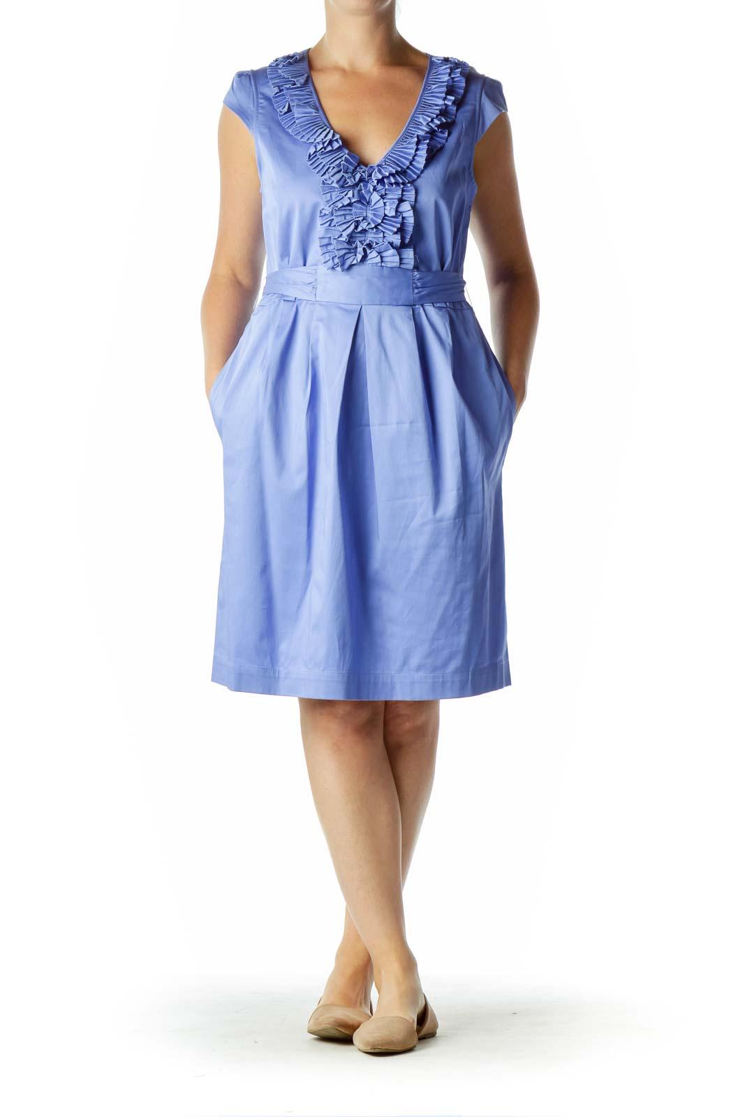 Purple Pleated Ruffled A-Line Dress