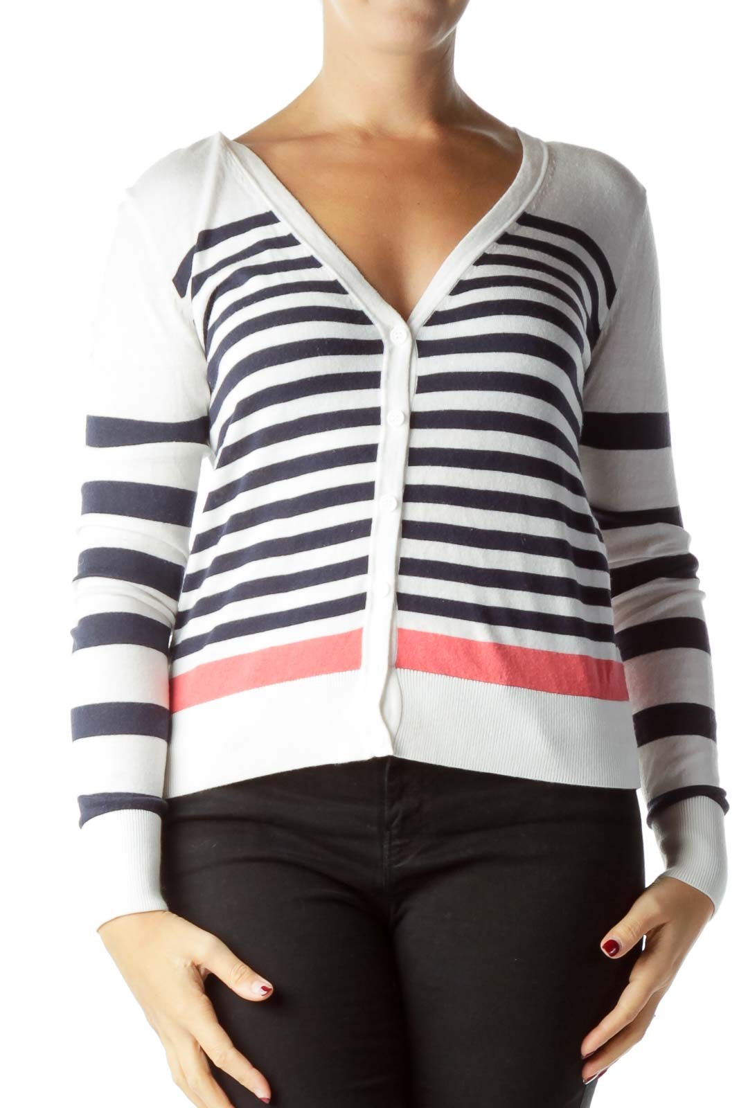 Cream Navy Striped Cardigan