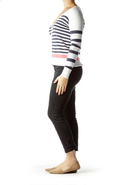 Cream Navy Striped Cardigan