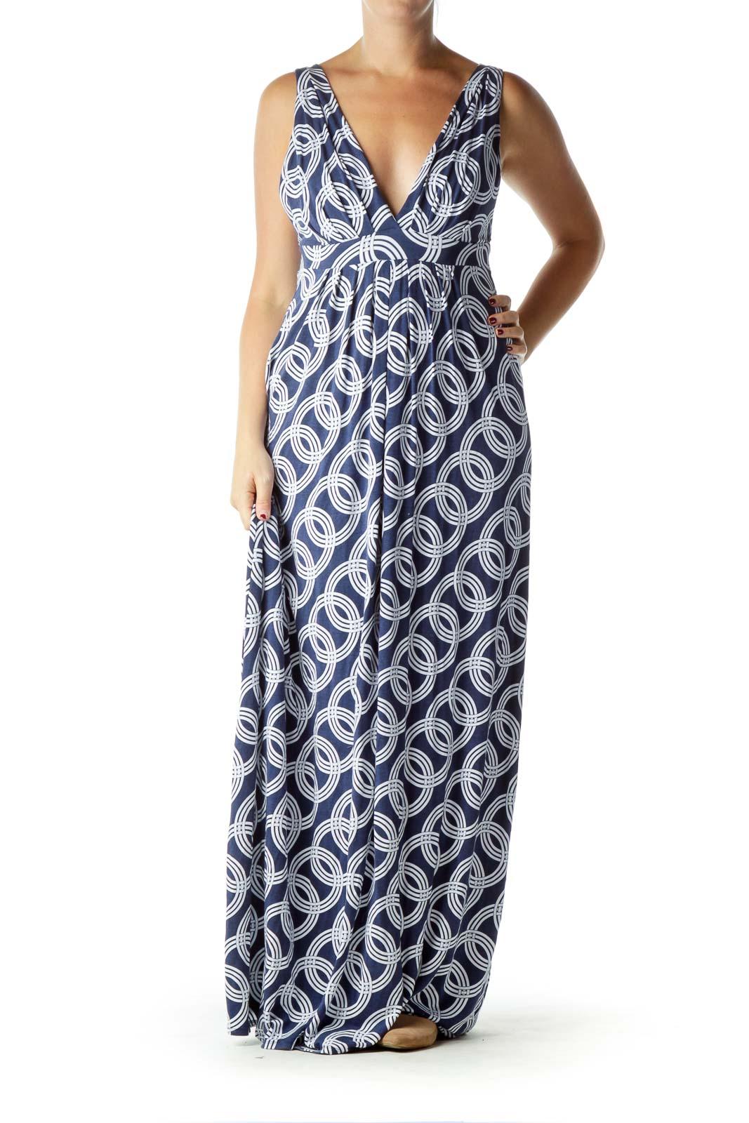Blue Print Jersey Maxi Dress