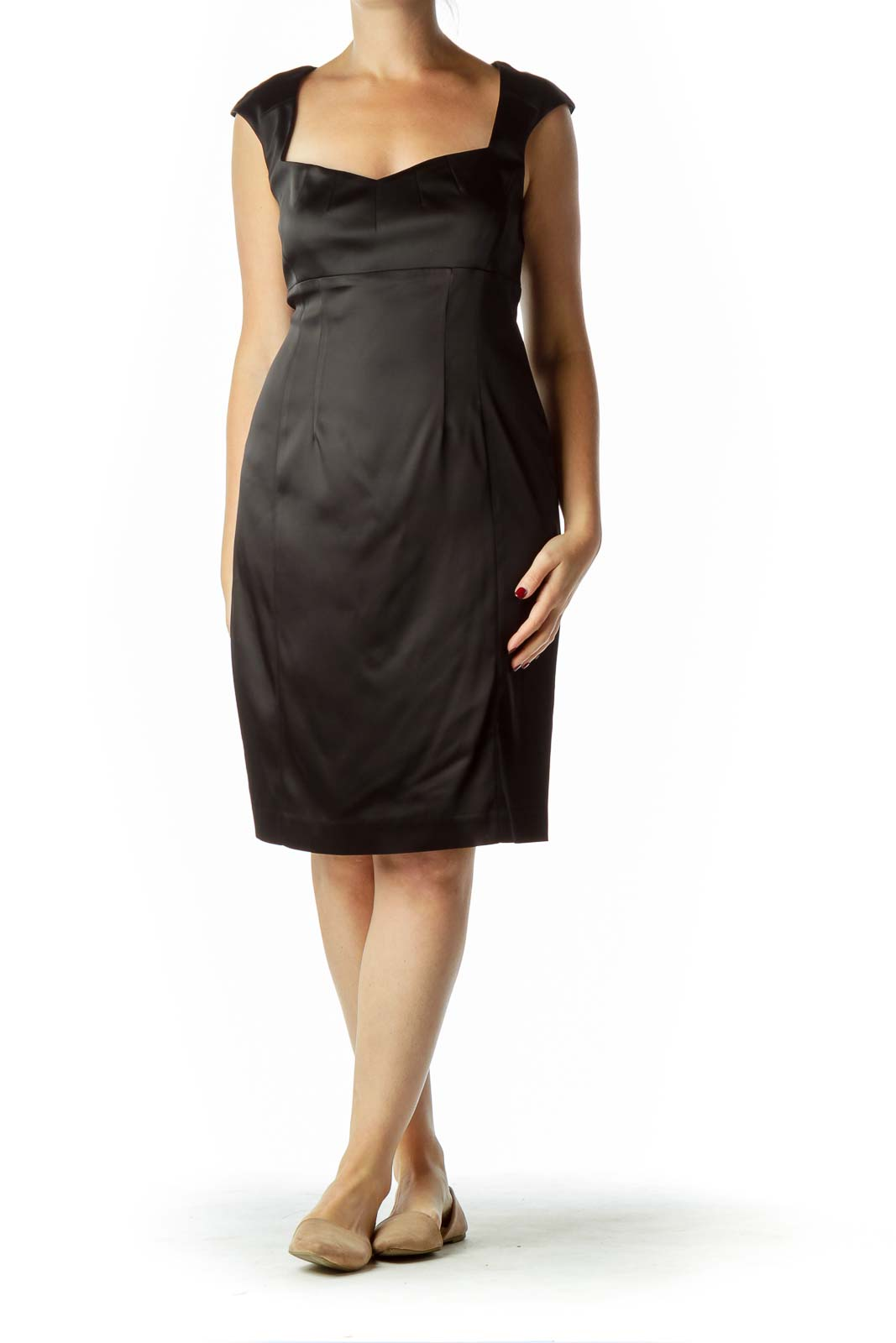 Black Satin Empire Waist Cocktail Dress