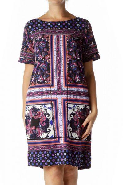 Black Blue Purple Paisley Print Shift Dress