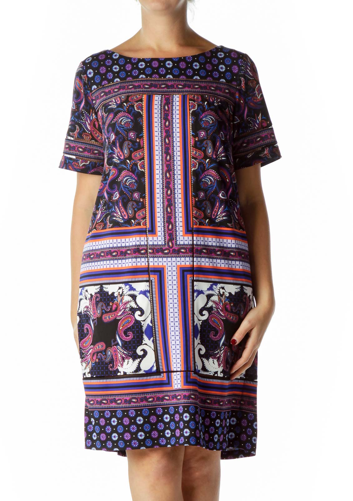 Black Blue Purple Paisley Print Shift Dress