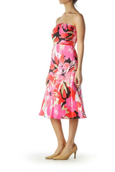 Pink Red Floral Print Silk Dress