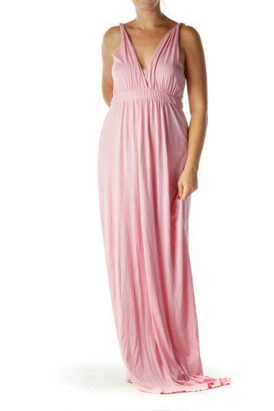 Pink V-Neck Maxi Dress