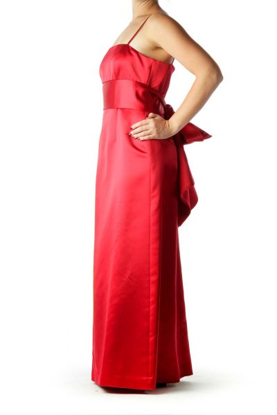 Red Satin Evening Dress with Bow