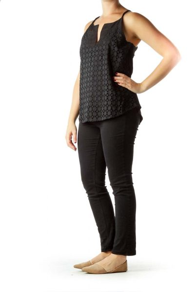 Black Eyelet Embroidered Active Tank