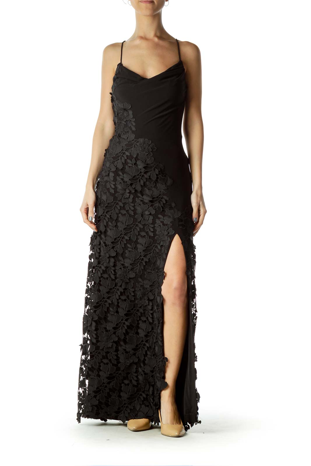 Black Crocheted Slit Evening Dress