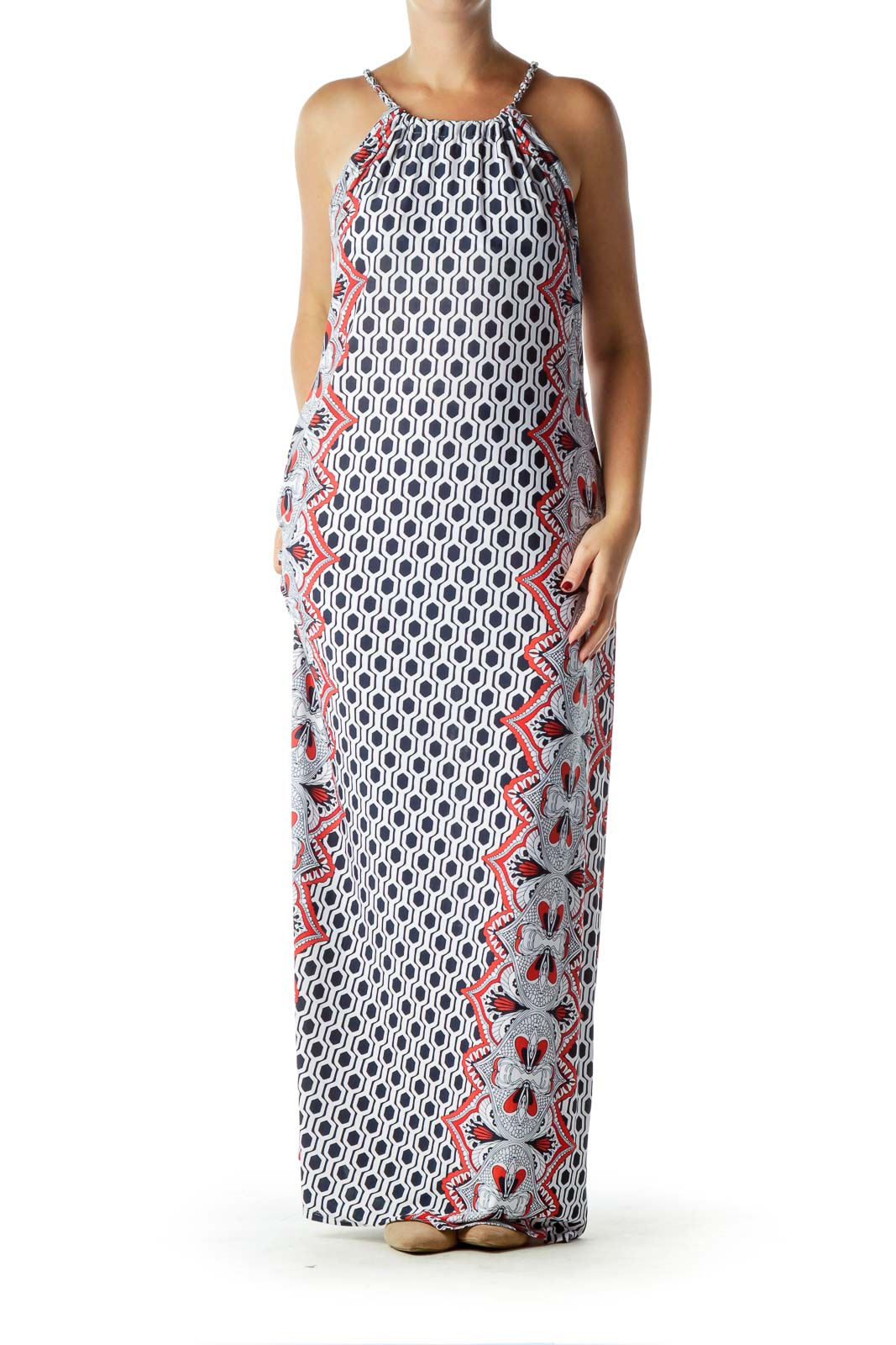 White Printed Maxi Dress with Chain Straps