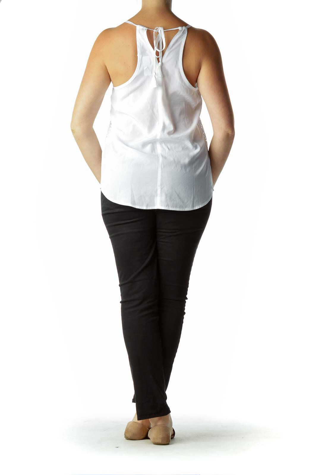 White Embroidered Active Tank
