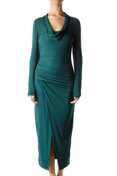 Dark Green Cowl Neck Fitted Jersey Dress