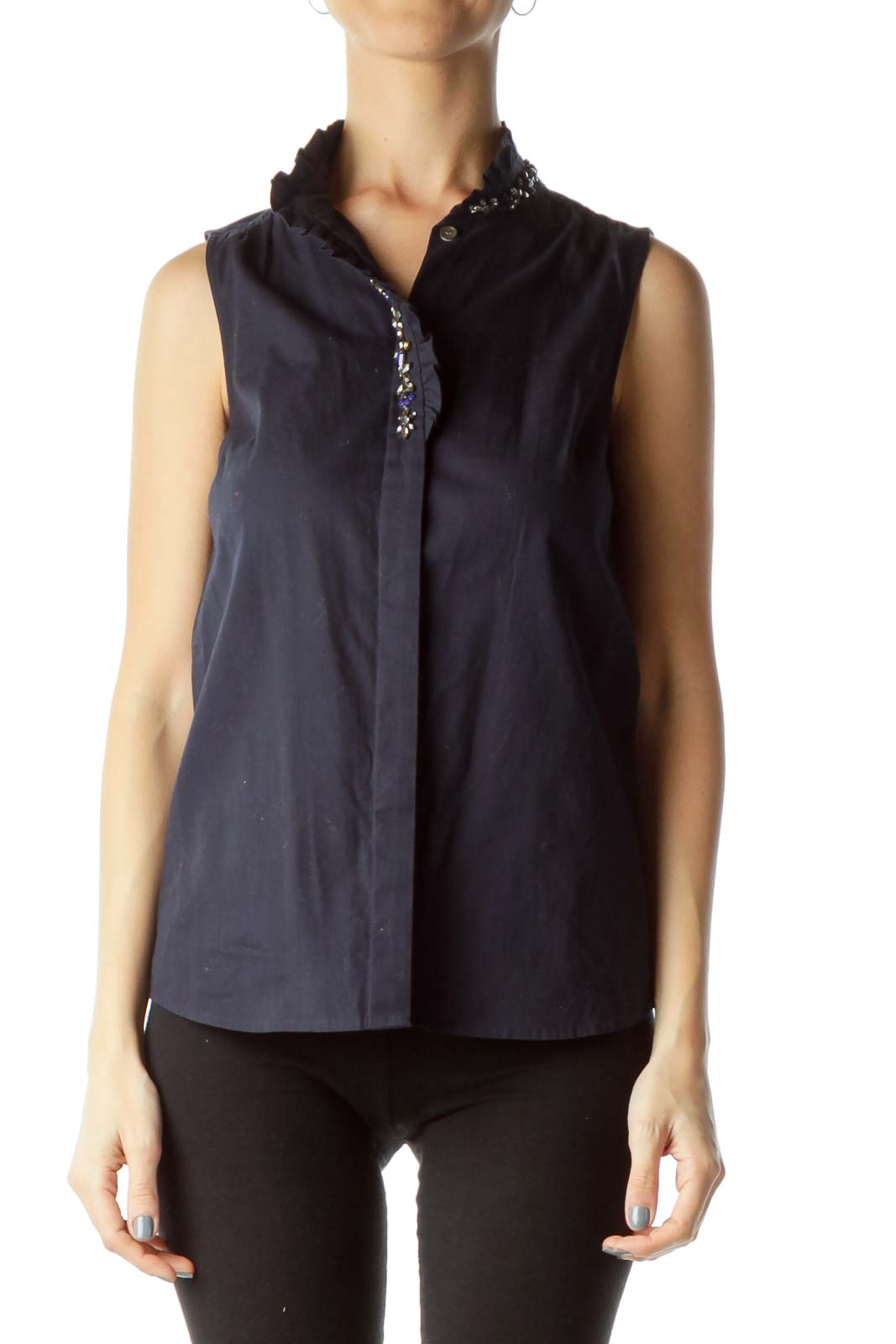 Navy Sleeveless Shirt with Jewel Detail