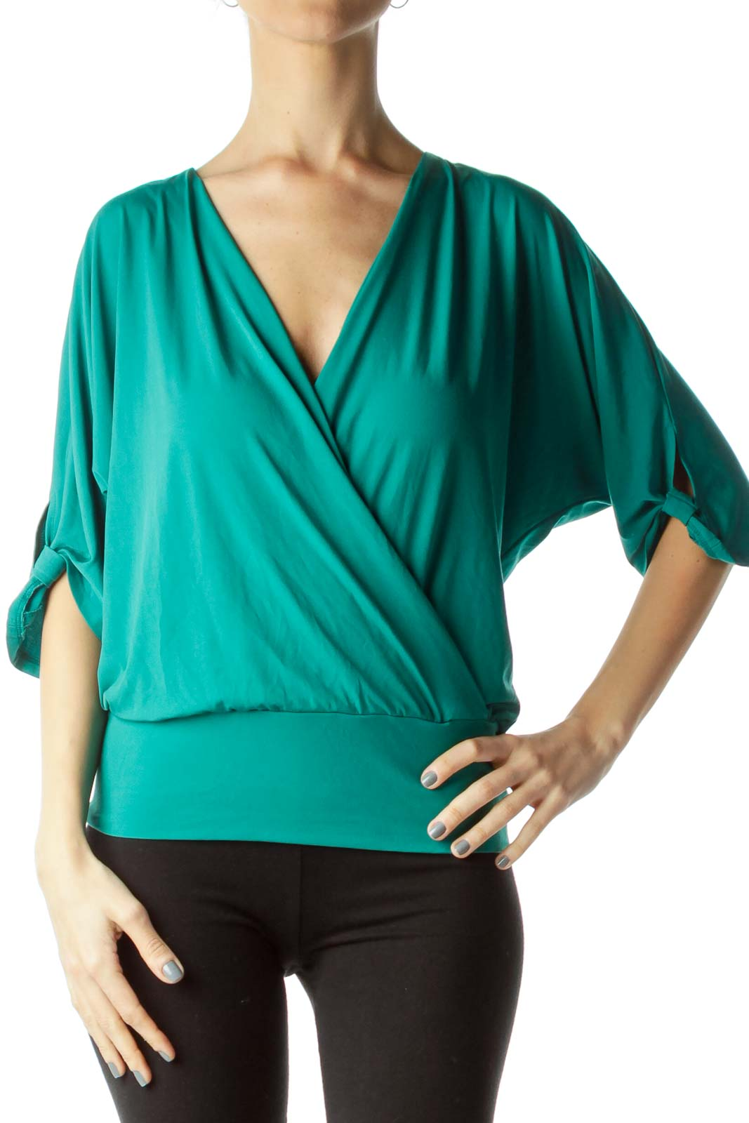 Green Wrap Short Sleeve Top