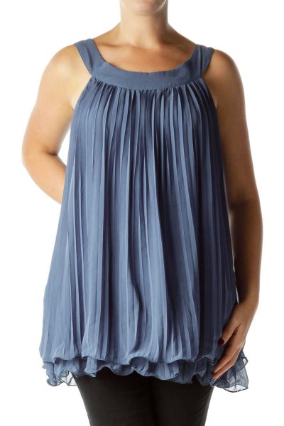 Blue Pleated Sleeveless Top