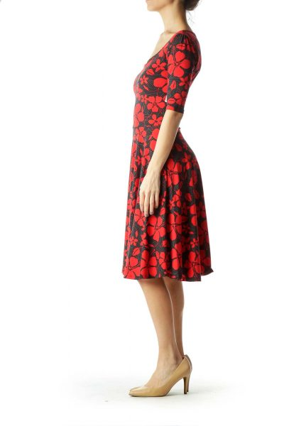Gray Red Floral Print Dress