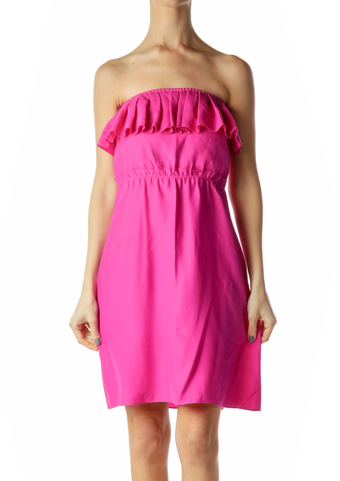 Pink Ruffled Strapless Cocktail Dres