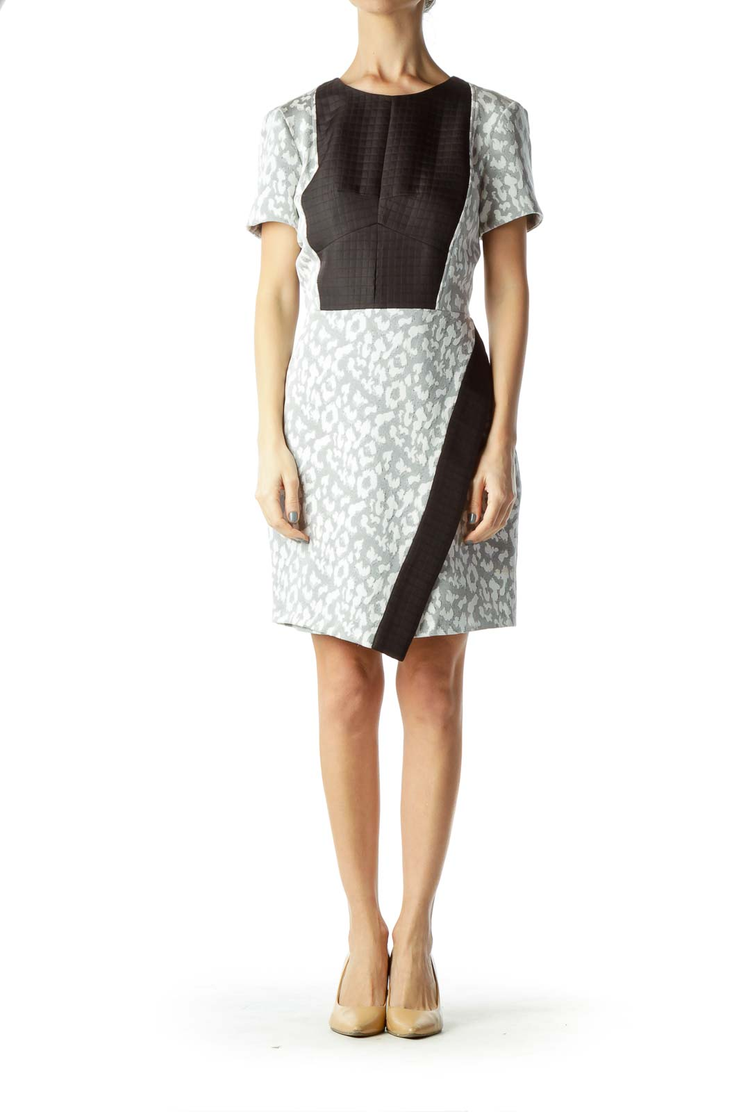 Black White Textured Print Sheath Dress