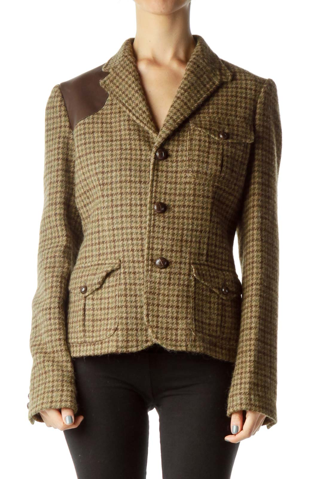 Brown Houndstooth Wool Jacket
