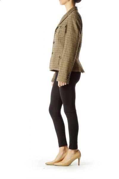 Brown Houndstooth Wool Jacket