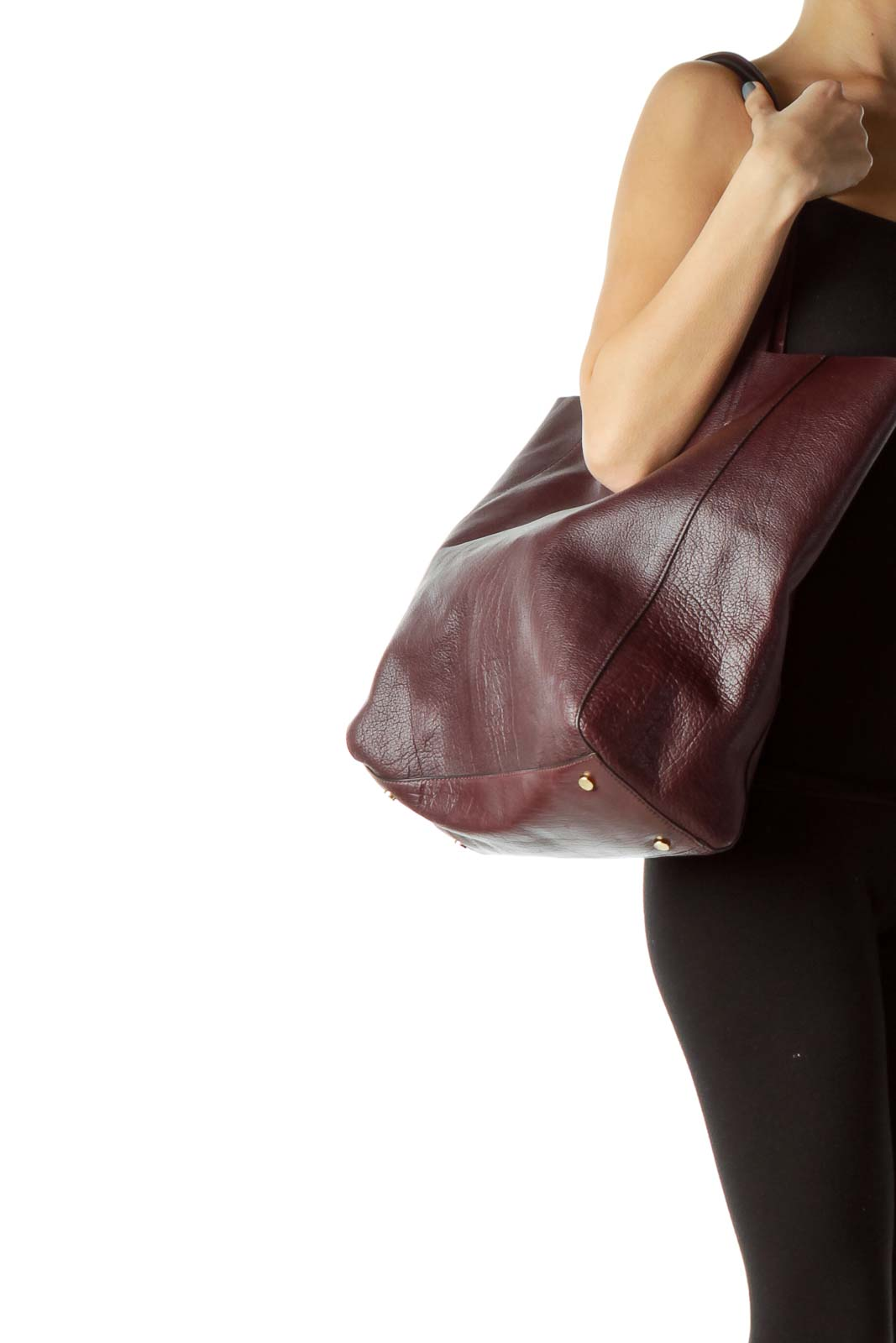 Burgundy Large Leather Tote