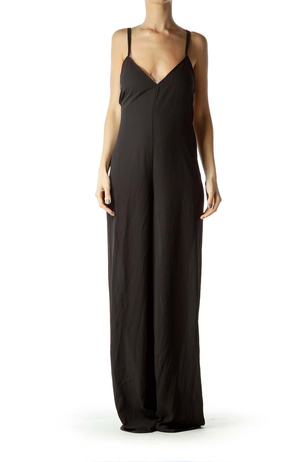 Black Drawstring Cut Jumpsuit