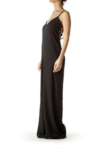 Black Drawstring Cut Jumpsuit