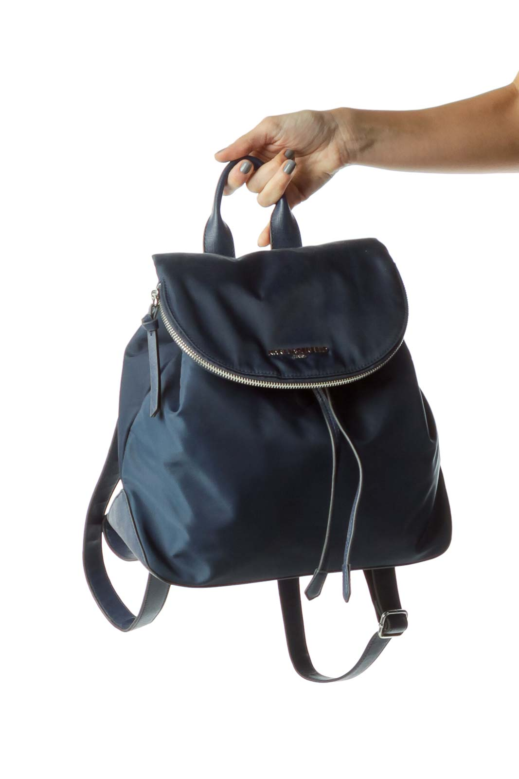Blue Nylon Leather Trim City Backpack