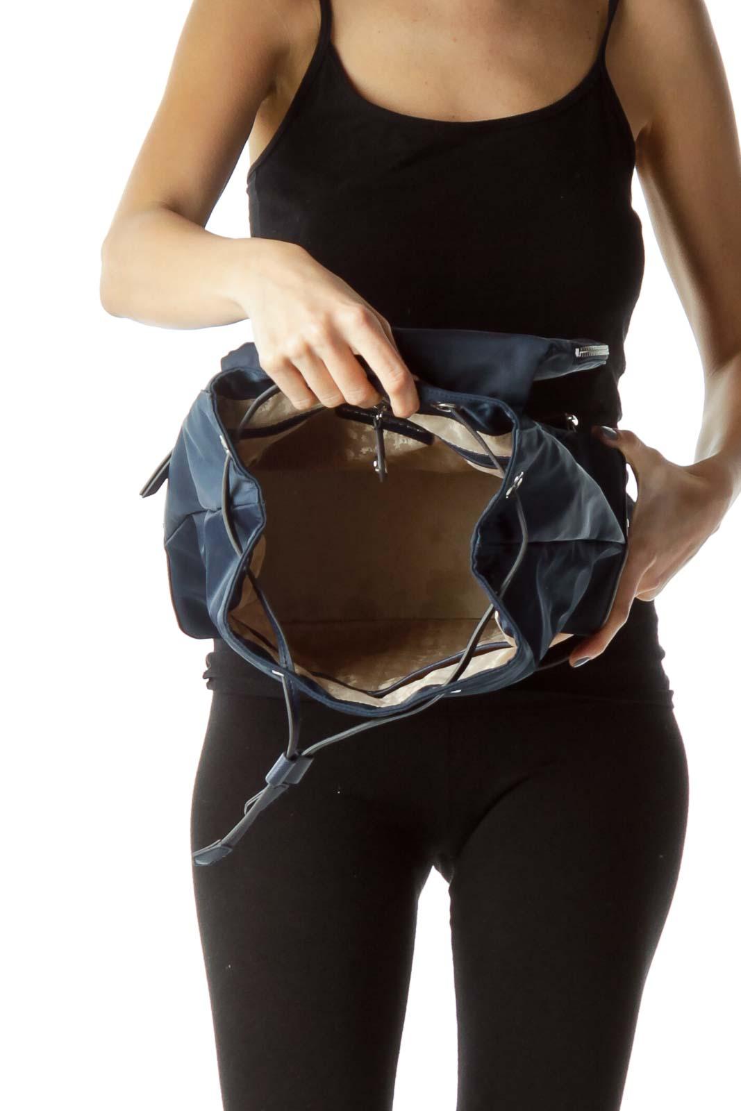 Blue Nylon Leather Trim City Backpack