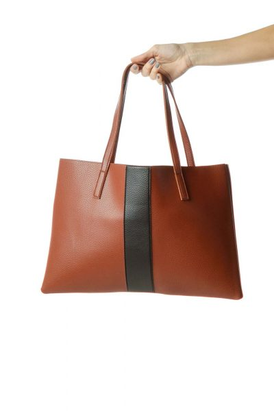 Brown Black Color Block Leather Tote