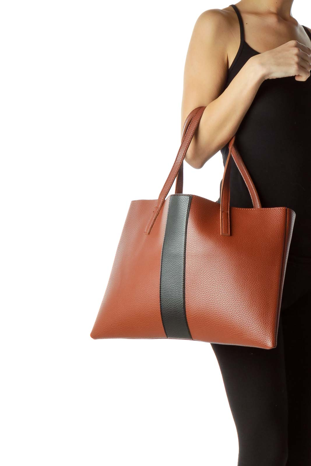 Brown Black Color Block Leather Tote