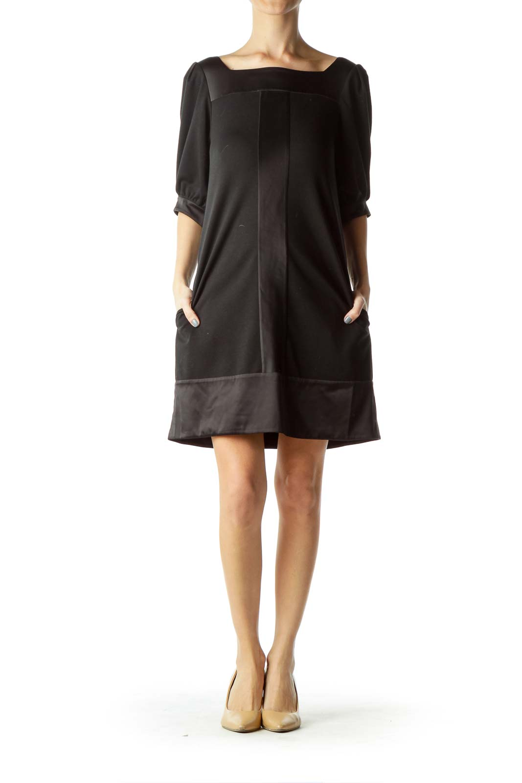 Black Satin Detailed Doll Dress