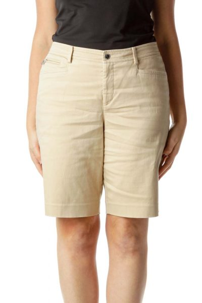 Beige Pocketed Capri