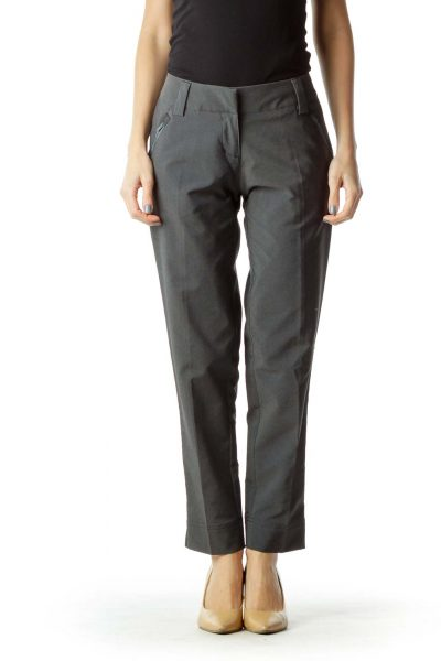 Gray Textured Tapered Pants