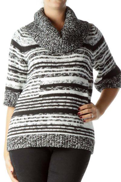Black White Cowl Neck Chunky Knit