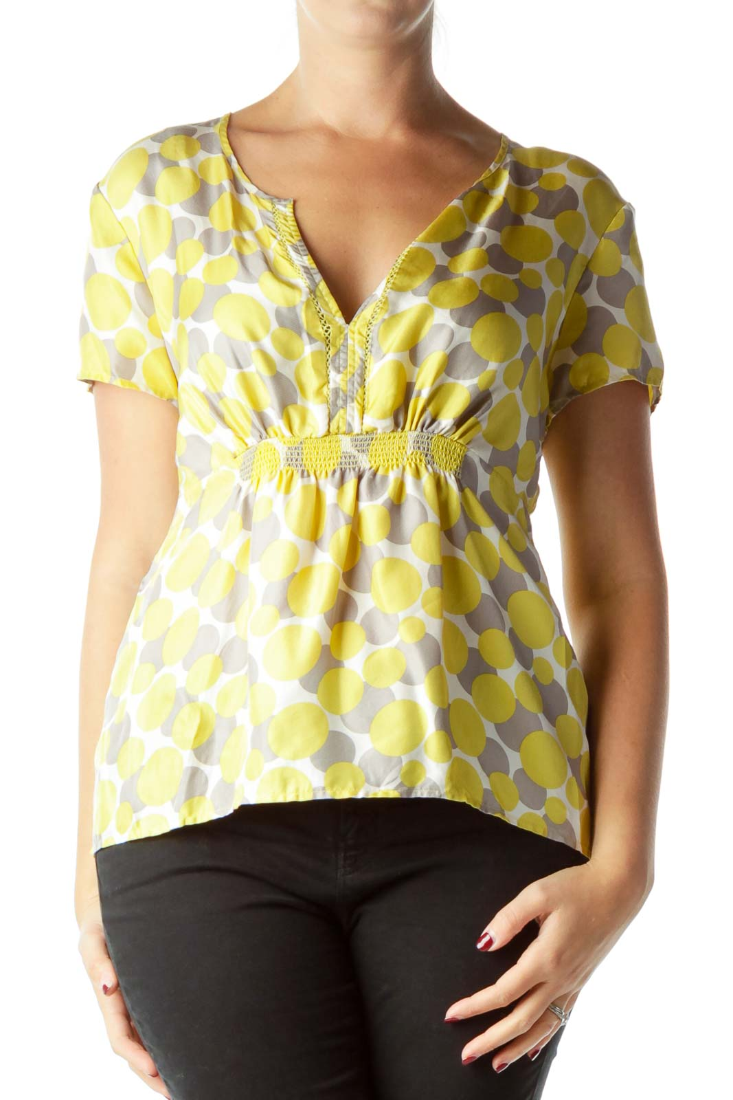 Yellow Circle Print Silk Blouse