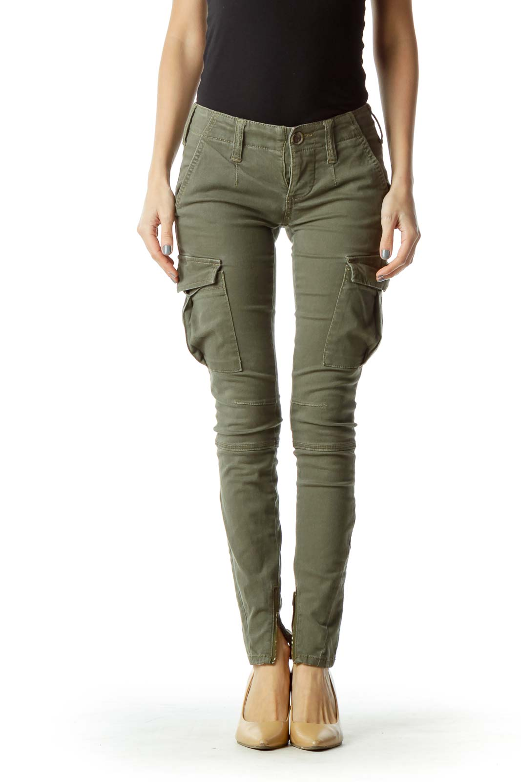 Green Button-Fly Pocketed Cargo Pants