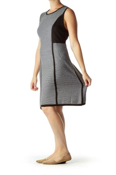 Black White Sleeveless Knit Dress