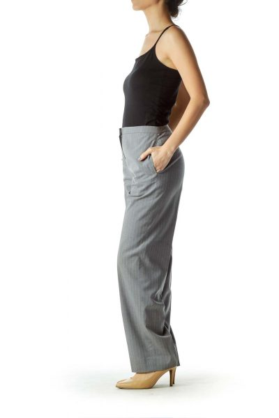 Gray Striped Straight-Leg Pants