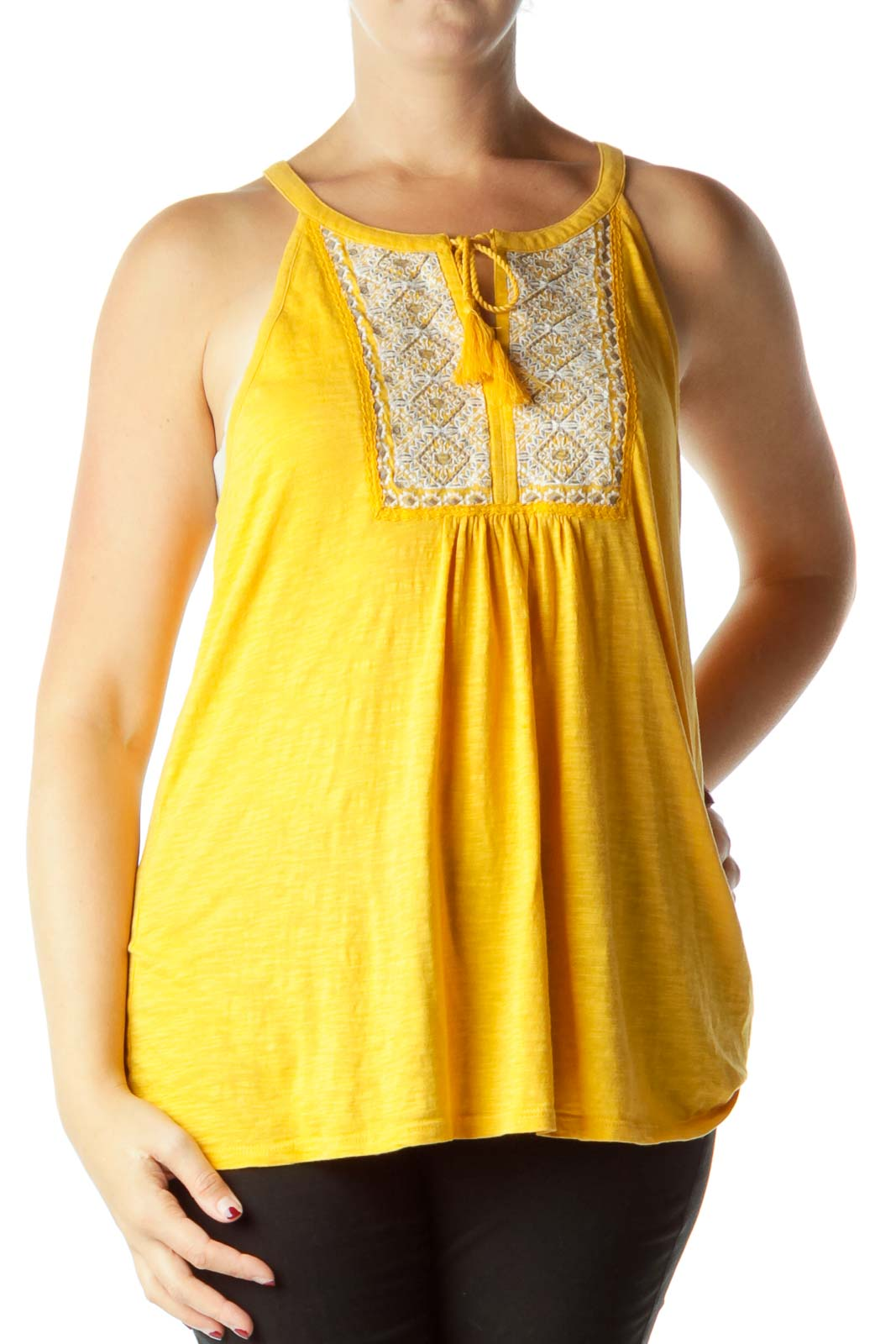 Yellow Embroidered Tank