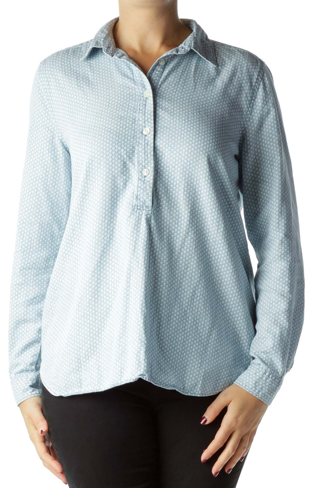 Blue White Pattern Buttoned Cotton Shirt