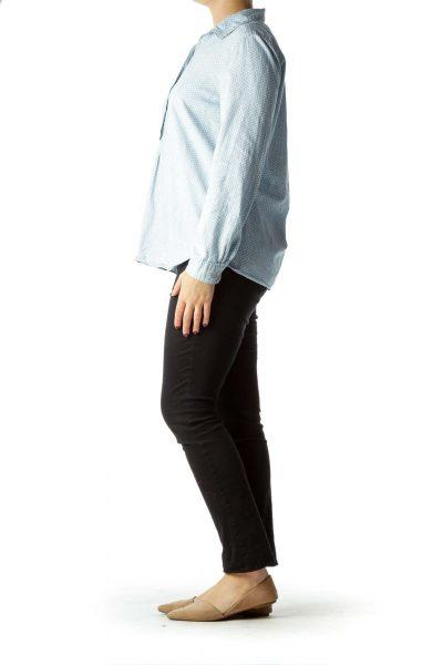 Blue White Pattern Buttoned Cotton Shirt