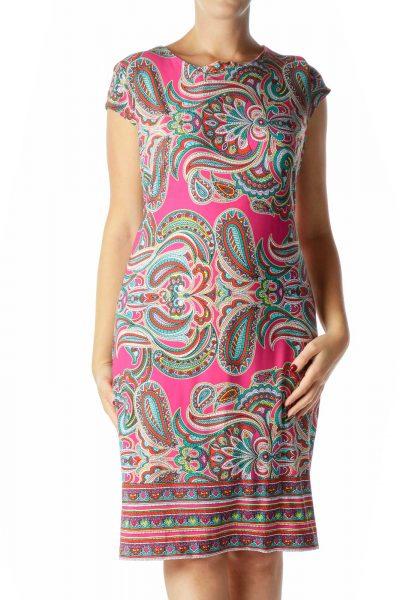 Pink Multicolor Print Shift Dress