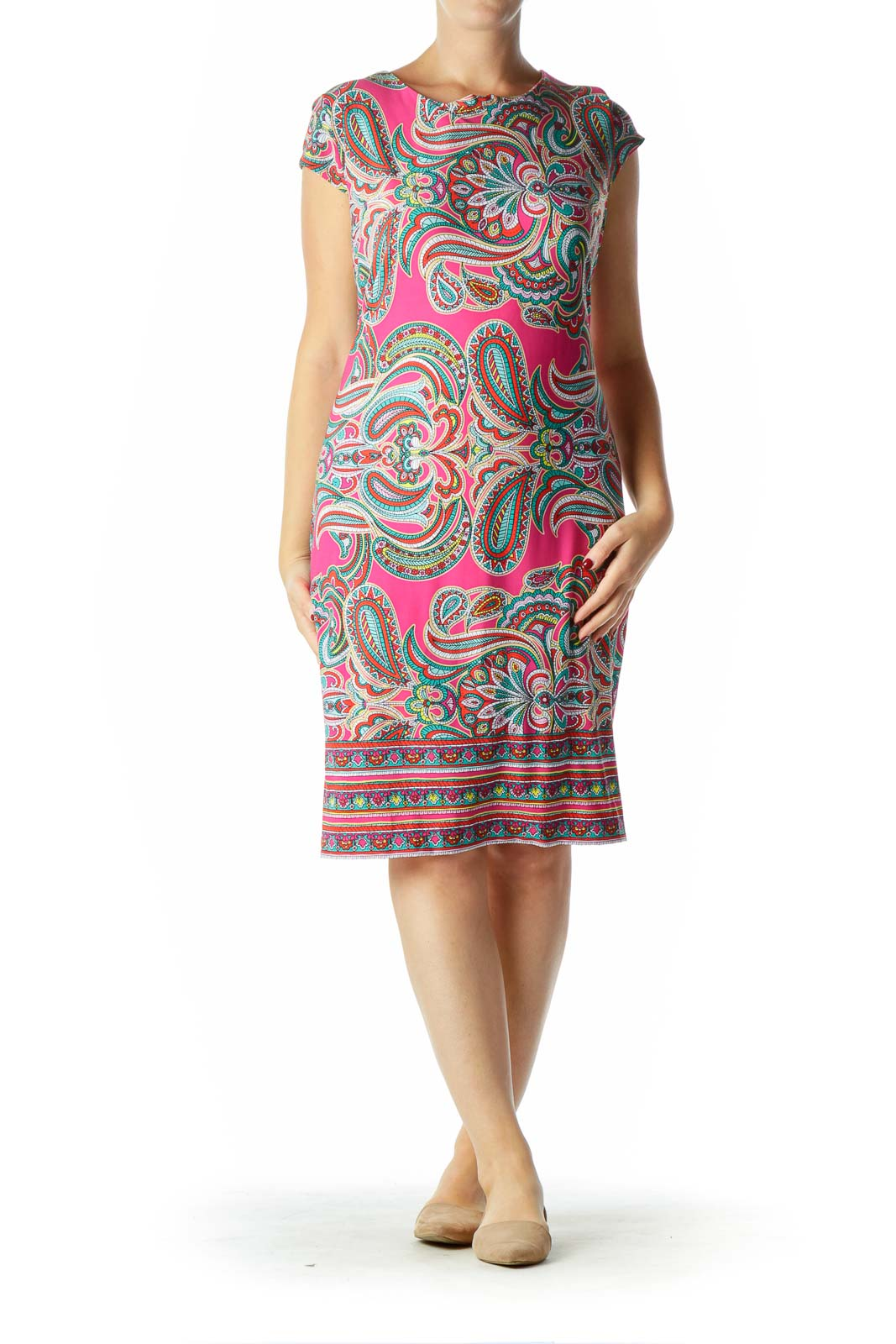 Pink Multicolor Print Shift Dress