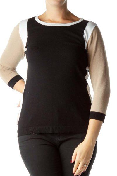 Beige White Black Round-Neck Knit Top