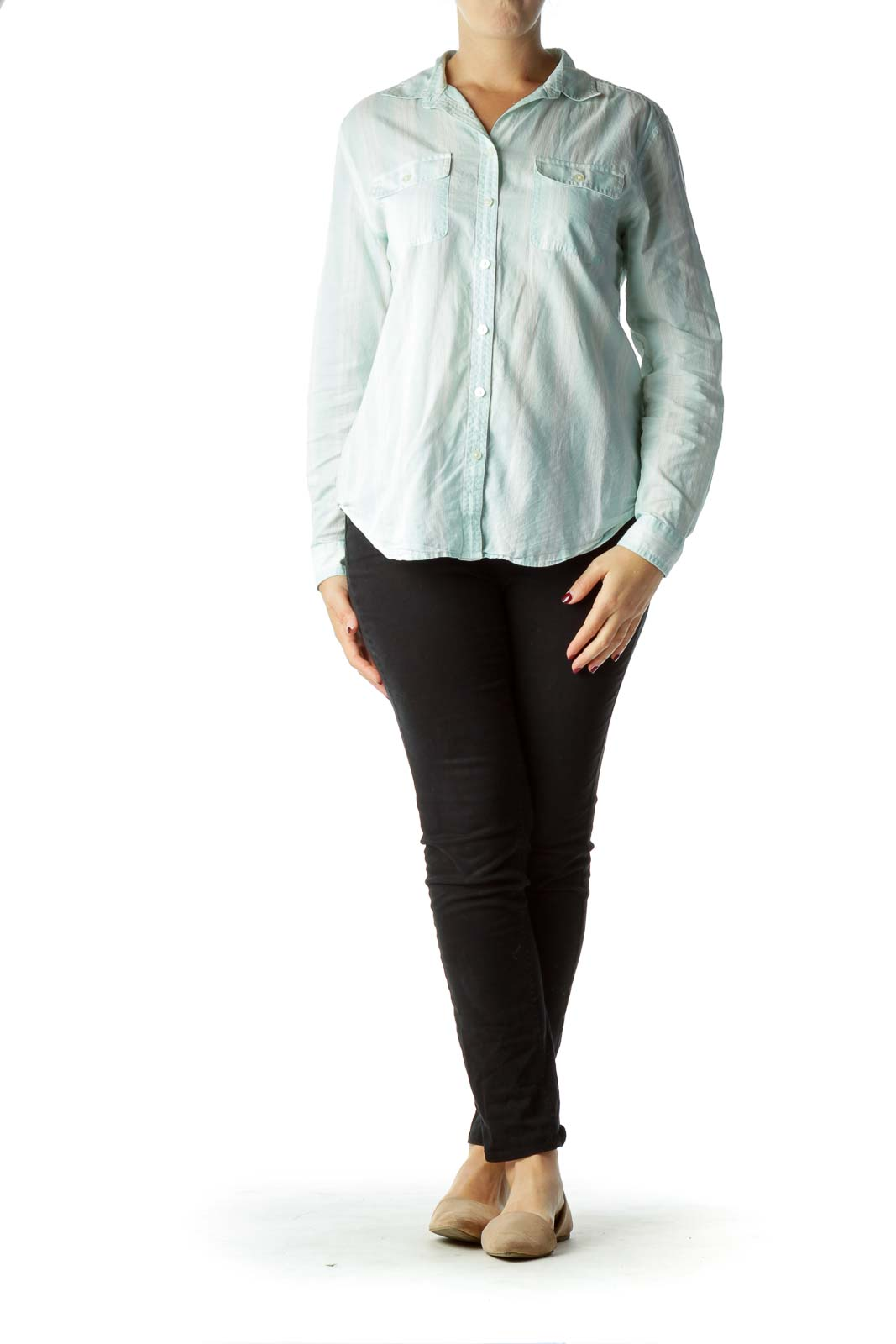 Mint White Striped Sheer Shirt