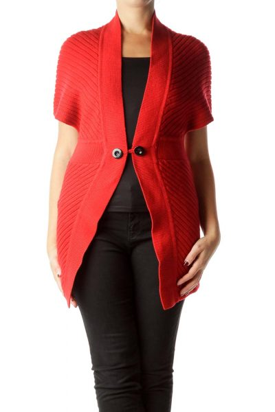 Red Cable Knit Long Cardigan