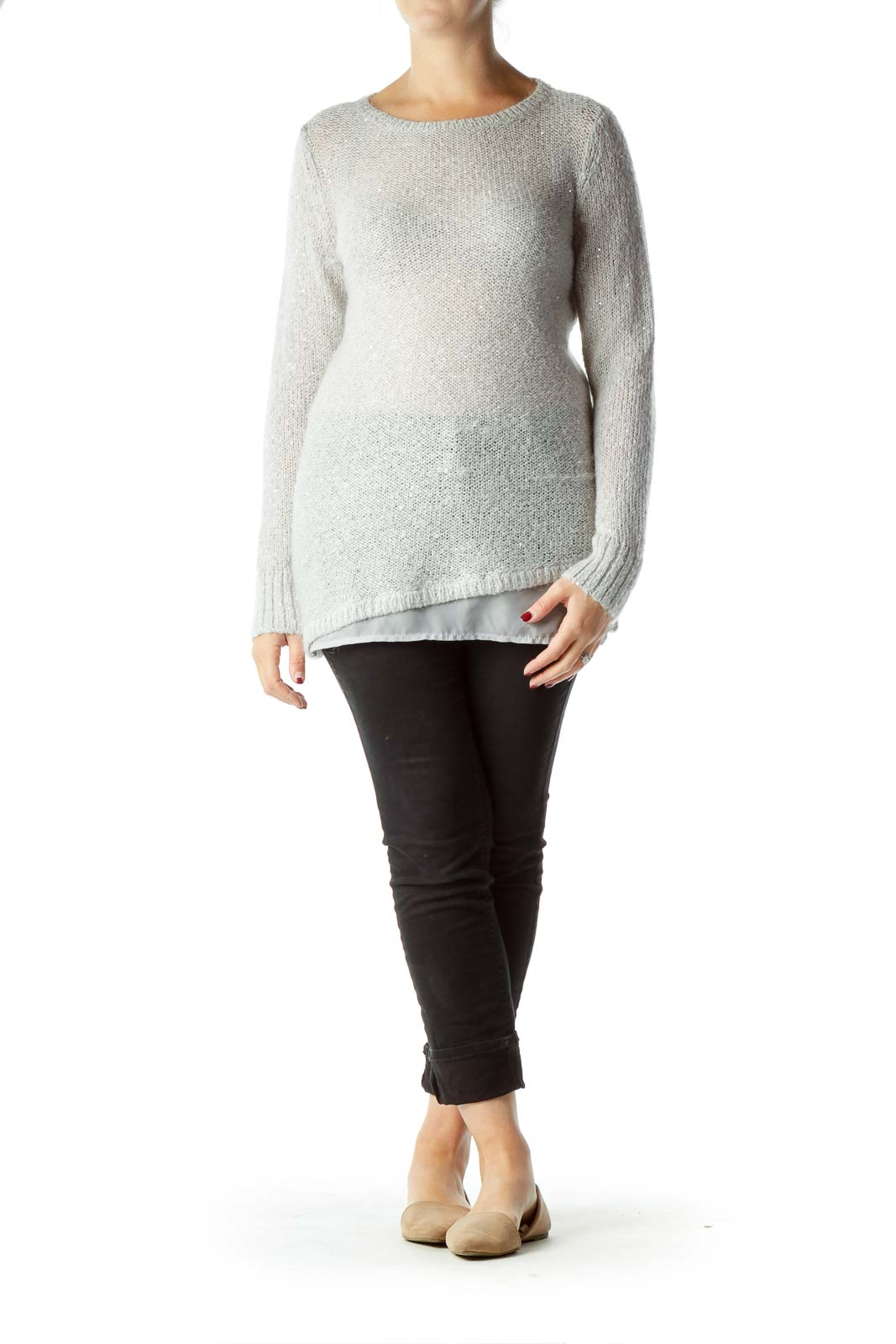 Gray Sweater with Sequin Detail